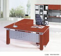 [china office furniture]$135 L-shape computer table plywood office manager desk C-006