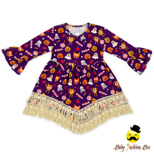48BQA260 Yihong New Baby Dress Girls Halloween Printed Pumpkin& Ghost Ruffle Long Sleeve Tassel Kids Frock Designs