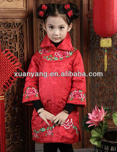 Hand-made embroideries girls red dress for chinese New year kids wear