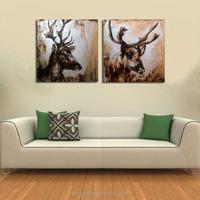 Latest Animal Head Oil Painting--Elk Oil Painting On Canvas