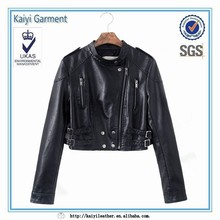 fashion rivet black crop faux leather party wear jacket for women