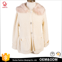 100% cotton winter keep warm knitted girls cardigan kids knitwear sweater with faux fur collar