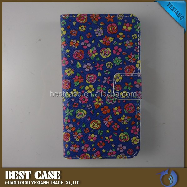 wholesale beautiful flower design leather flip case for huawei ascend y300