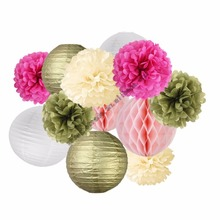 White Gold paper lanterns Red Gold paper pom poms Pink honeycomb balls