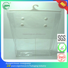 High quality clear pvc plastic cloth hanger packaging bag with snap button