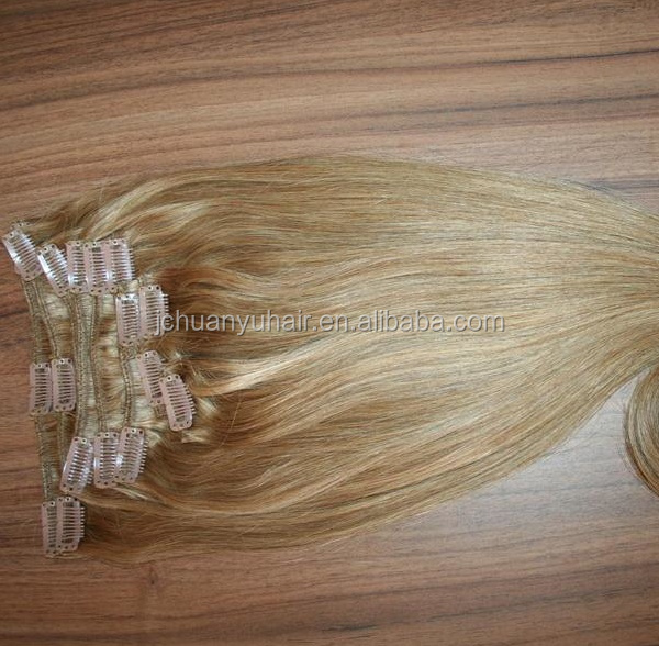 120g/set 18inch high quality ombre color lace clip remy human hair