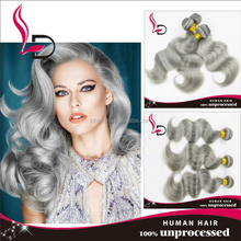 Cheap brazilian remy hair BODY WAVE gray hair weave for white old women wholesale tangle free hair extension grey