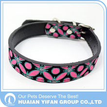 Quality wholesale Butterfly pattern necklace PU llessh and collar leather dog and cat collar