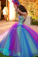 multi colors rainbow tulle fashion ball gown prom dress 2015 new styles custom make dresses quinceanera dresses