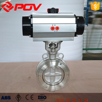 China made double eccentric wafer connection stainless steel pneumatic butterfly valve
