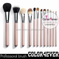 Wholesale private label pink 12pcs personalized makeup brush set natural hair professional makeup brush set