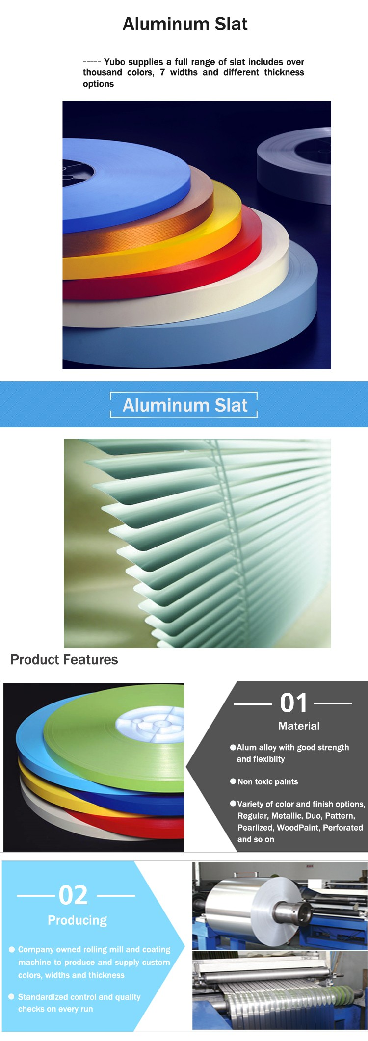 top quality 0.23mm aluminum slat for window shutters