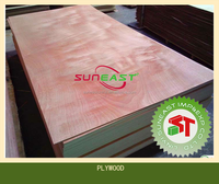 Red hardwood face plywood with MLH core,timber board