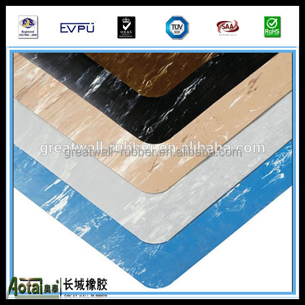 SBR/NR material abrasion resistant non-slip floor mat marblesied ruibber matting pass PAHS test made in China