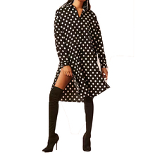 Women's Long Sleeve Button Down Polka Dot Relaxed Casual Shirt Dress