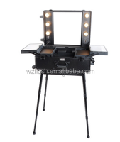 Studio Makeup Professional Trolley Aluminium Cosmetic Storage Case with Legs and Mirror