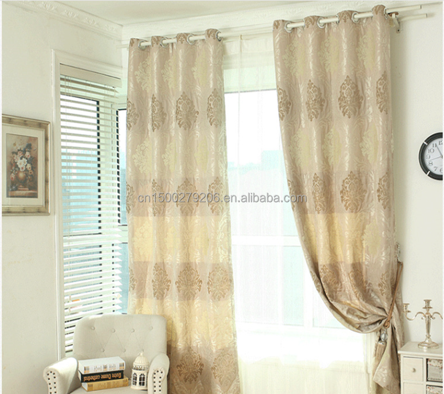 classical design 100% polyester metal eyelets swallow grid style fashion fabrics iran curtain