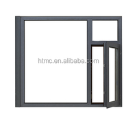 Top Quality Thermal Break Aluminum Wood Composite Casement Window with tempered double glass
