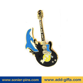 sonier-pins 2017 promotional guitar lapel badge rotary pins with Fast turnaround