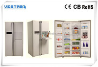 silver color four door side by side refrigerator freezer