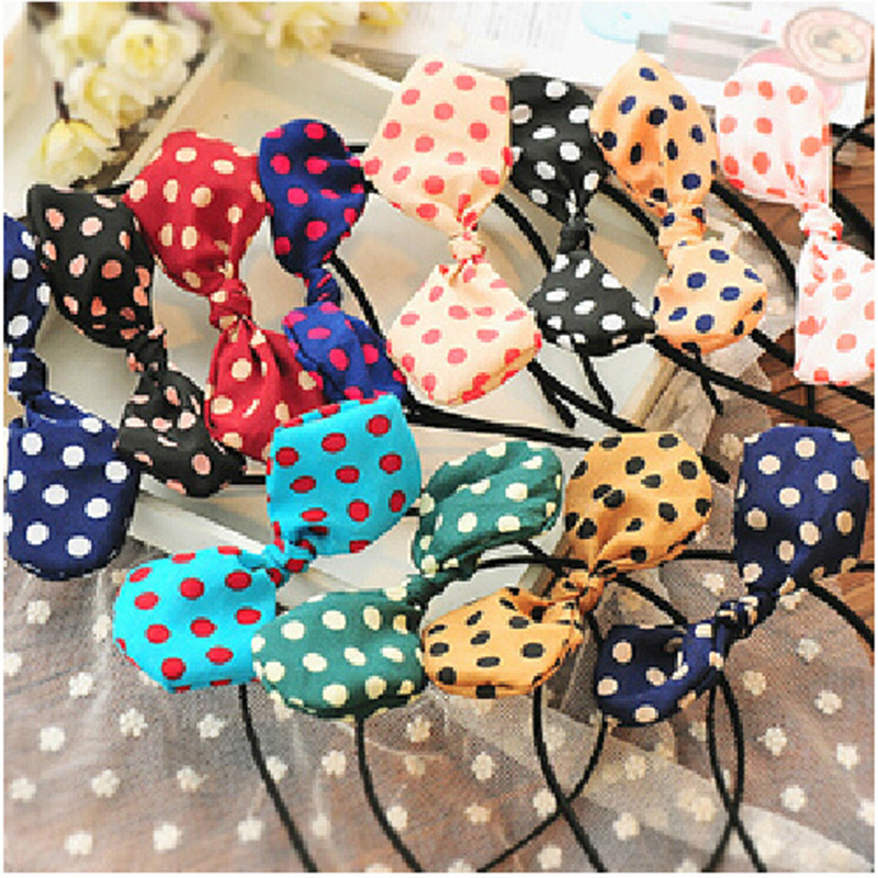 Wholesale and retail Sweet Cloth Dot Bow Headband Cute Rabbit Ear <strong>Hair</strong> <strong>Accessories</strong> For Women