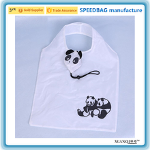 factory supply panda cartoon recycle polyester shopping bag cute gift folding strawberry shaped shopping bag