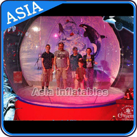 Holiday snowman pvc giant animated inflatable snow globe for kids, Clear camping Tent/ Decoration Snow Globe for Christmas