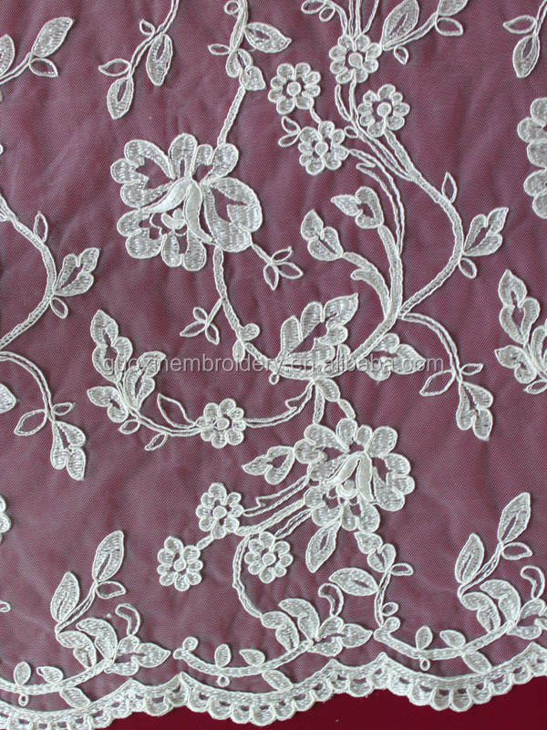 2015 embroidery fabric lace for wedding dresses imported from china