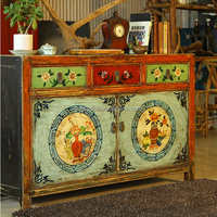 Durable antique furniture wholesale Wooden drawing room cabinets/curio drawing room cabinets with flower
