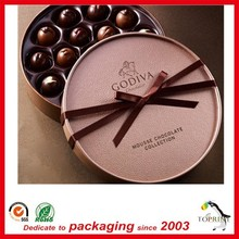large diameter luxury packaging box round candy box chocolate ball packaging tube satin ribbon on lid shenzhen supplier