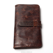 Hot Sale All over the World New Vintage Oil Waxed Genuine Leather Men's Wallet