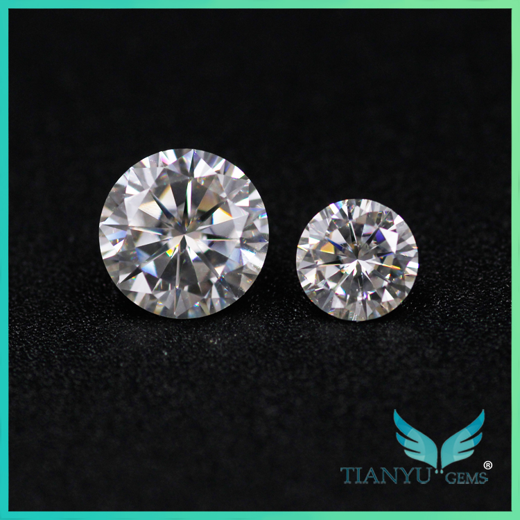 Loose Synthetic gemstone 2mm brilliant cut moissanite Fake Difference Between Moissanite Diamonds