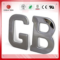 Polished mirror stainles steel LED halo lighting letter