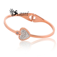 Heart Shape Rose Gold Plate With Rinestone Jewelry Stainless Steel Bangle Most Popular Lady Bangle Beautuiful Life