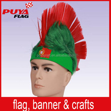 high quality custom fans headband mohawk wig,synthetic fiber wholesale sport wig