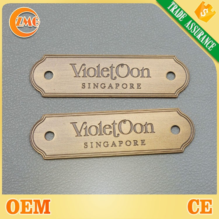 2 hole metal tag with custom logo for furniture