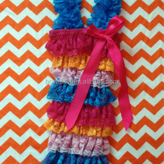 Wholesale high quality!rainbow lace ruffle romper baby romper RO108
