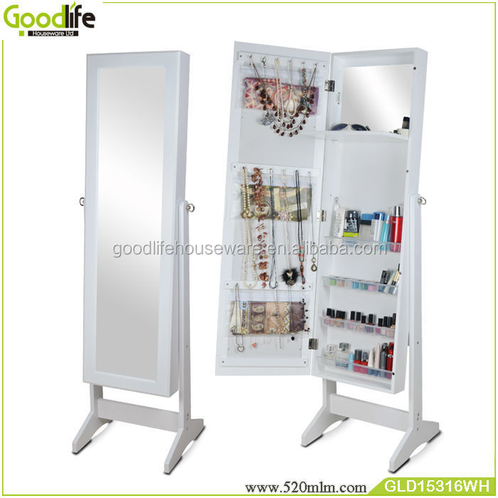 GLD15316mirrored jewelry cabinet wholesale low price