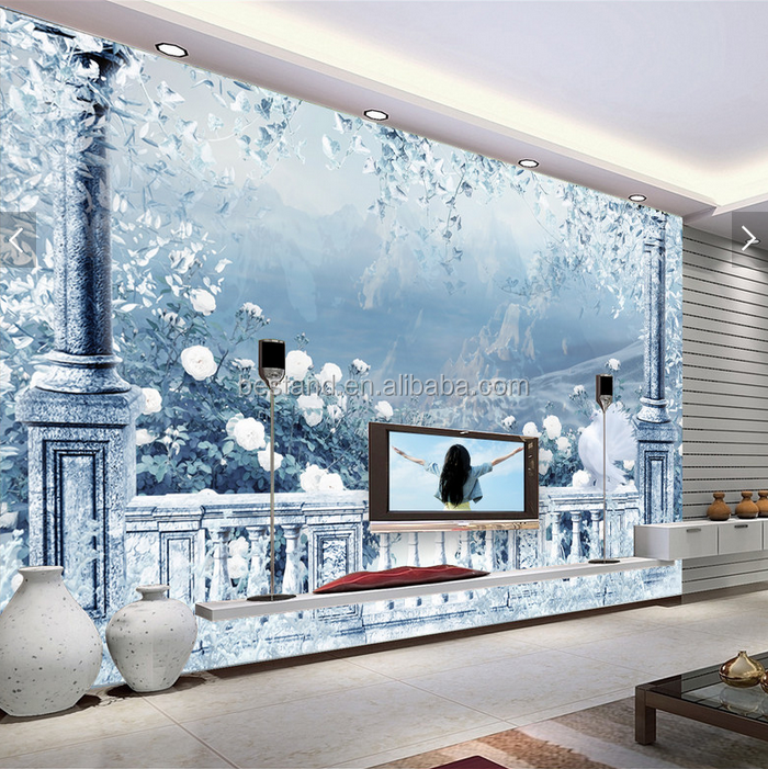 Winter Ice Landscape Hand Painting 3D Wall Mural/Wallpaper for House Decoration