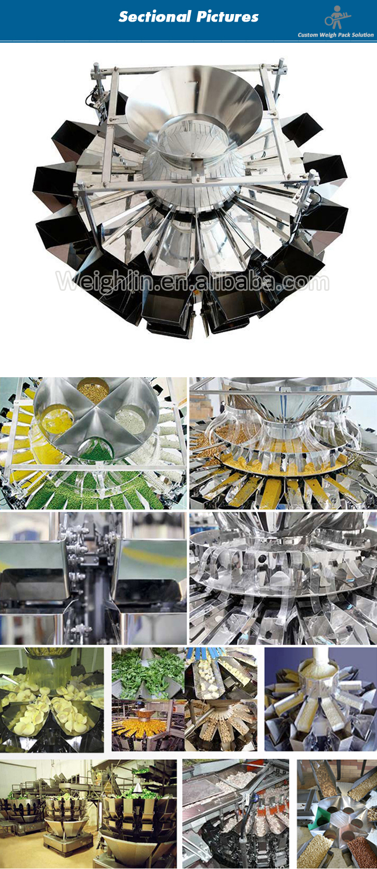 Automatic filling packaging machine with 14 heads multihead weigher for filling capsule tablet
