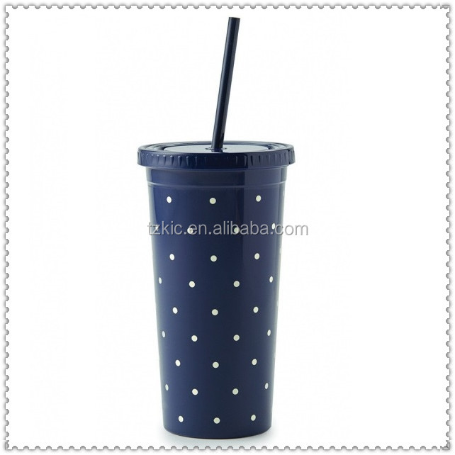 Larabee Dots Insulated Tumbler with Straw by Kate Spade in Navy