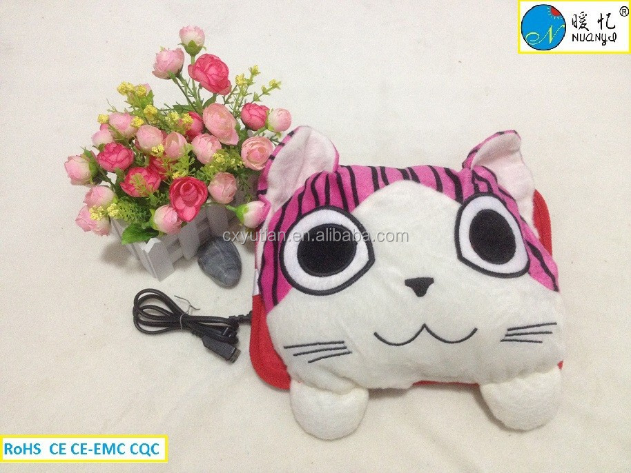 rechargeable electric hot water bag/charging hot water bottle with cover/cat shape hot water bag