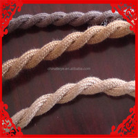 2 Conductor Twisted Wire Cloth Covered Electrical Cord - Vintage Fabric Braid Lamp Pendant Wire