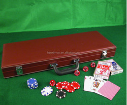 500 piece clay poker chip set with leather case