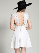 Angle Wings Lace Embroidered Braces Design Solid Color Backless A Line Dress Girls Sexy Night Dress