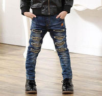 Kids Boys Rip Jeans Denim Pants Stretch Elastic Trousers