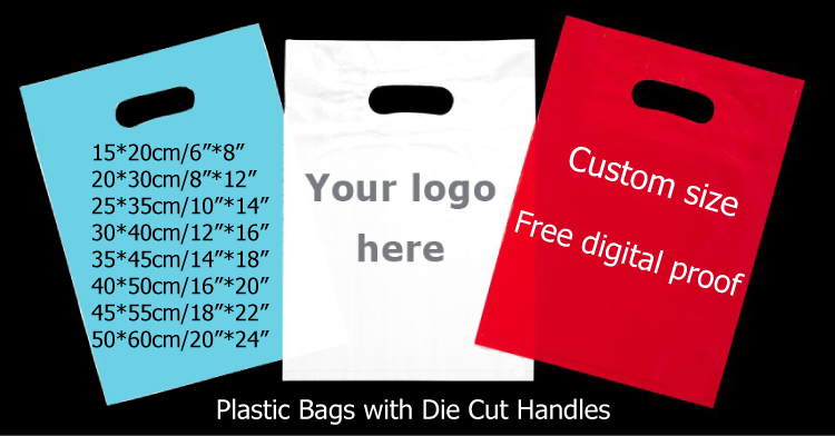 wholesale personalized gift plastic bags with die cut handle