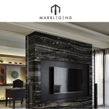silver dragon black marble tiles with white vein / marble black