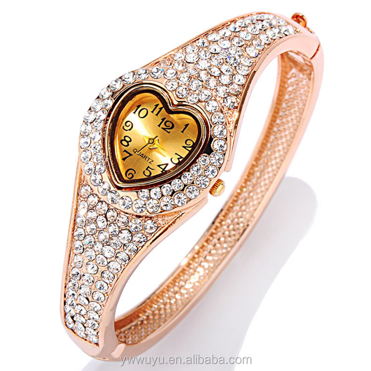 Heart Shape Analog Ladies Quartz Silver Rose Gold Plated Watch Crystal