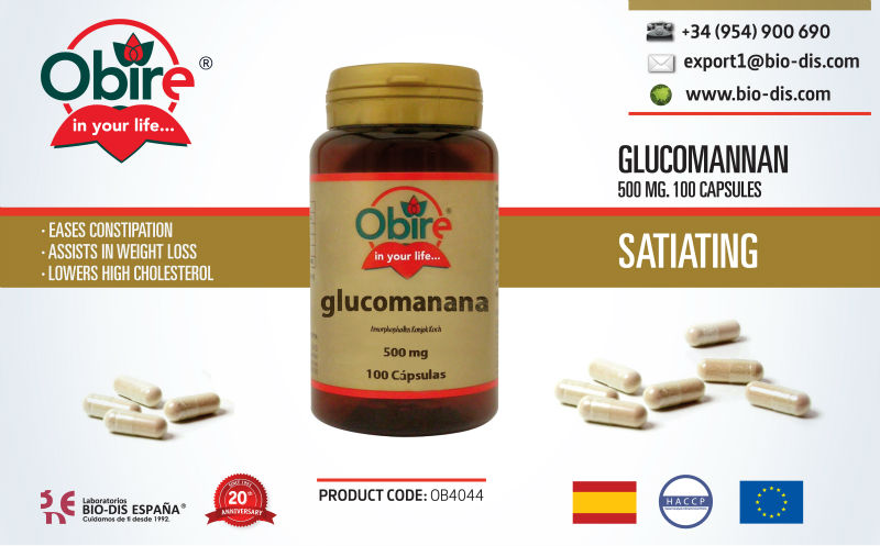 Glucomannan 500 mg 100 Capsules - Food supplement